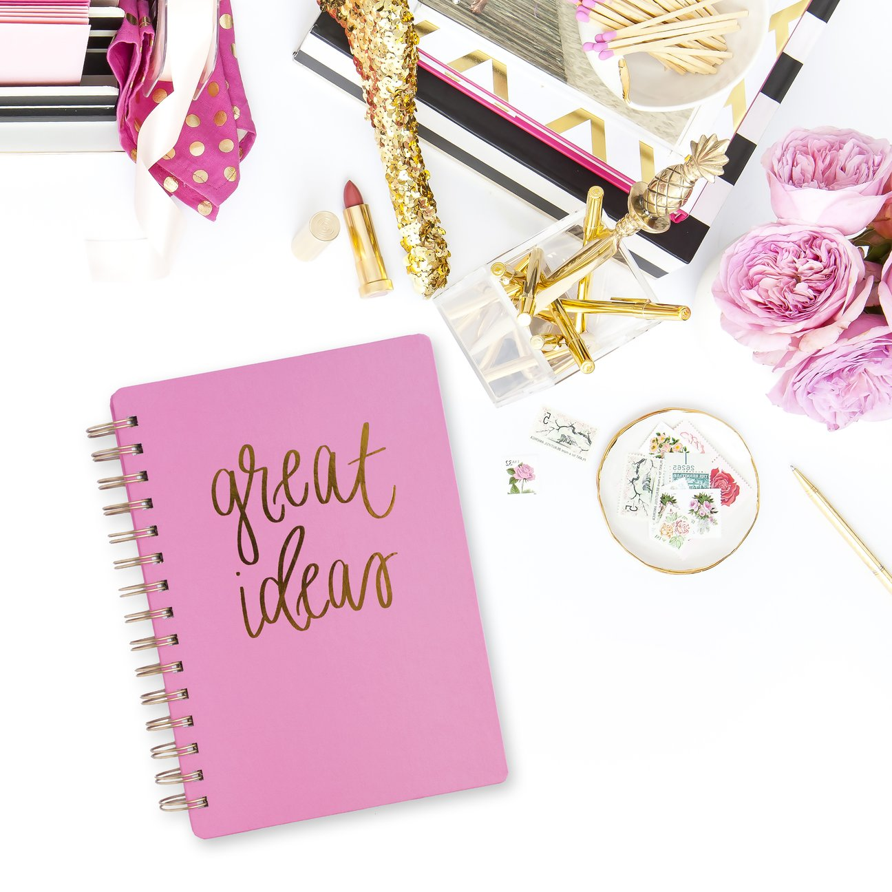 Great Ideas Pink Spiral Notebook