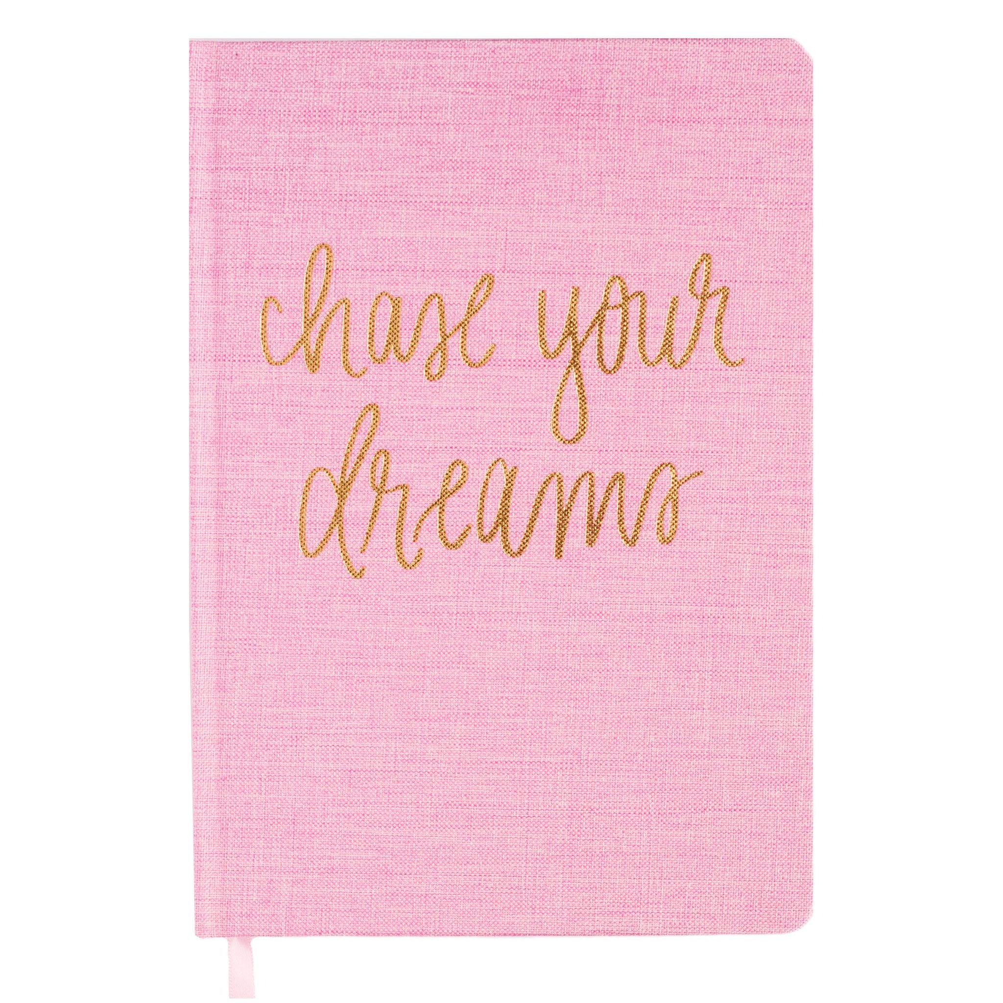 SWD Chase Your Dreams Pink & Gold Fabric Journal