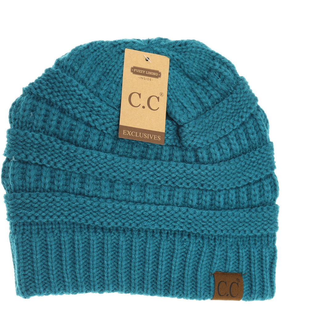 CC Knitted Pull On Beanie- Teal