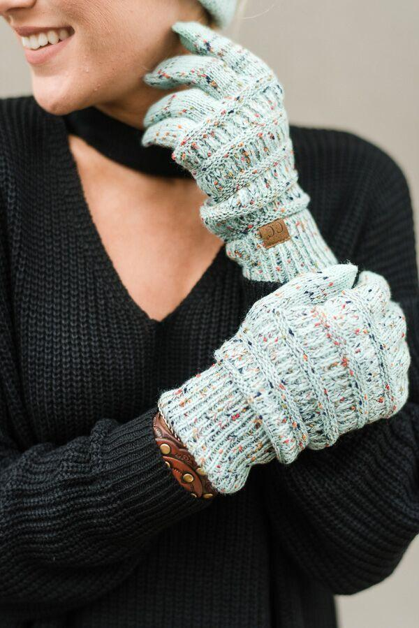 Knitted Texting Gloves- Mint