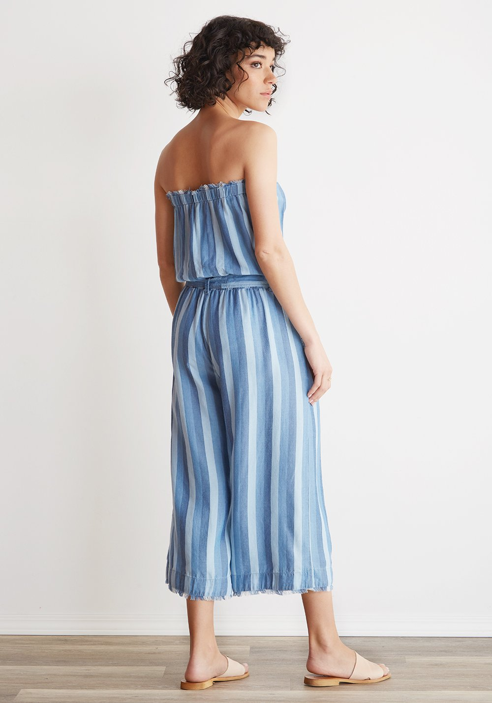 Bella Dahl Strapless Frayed Crop Jumpsuit