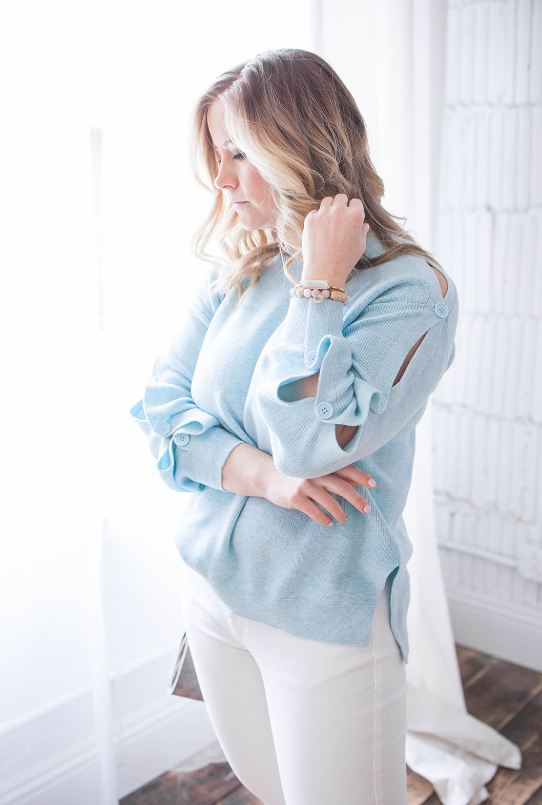 525 America Button Sleeve Sweater- Sky Blue