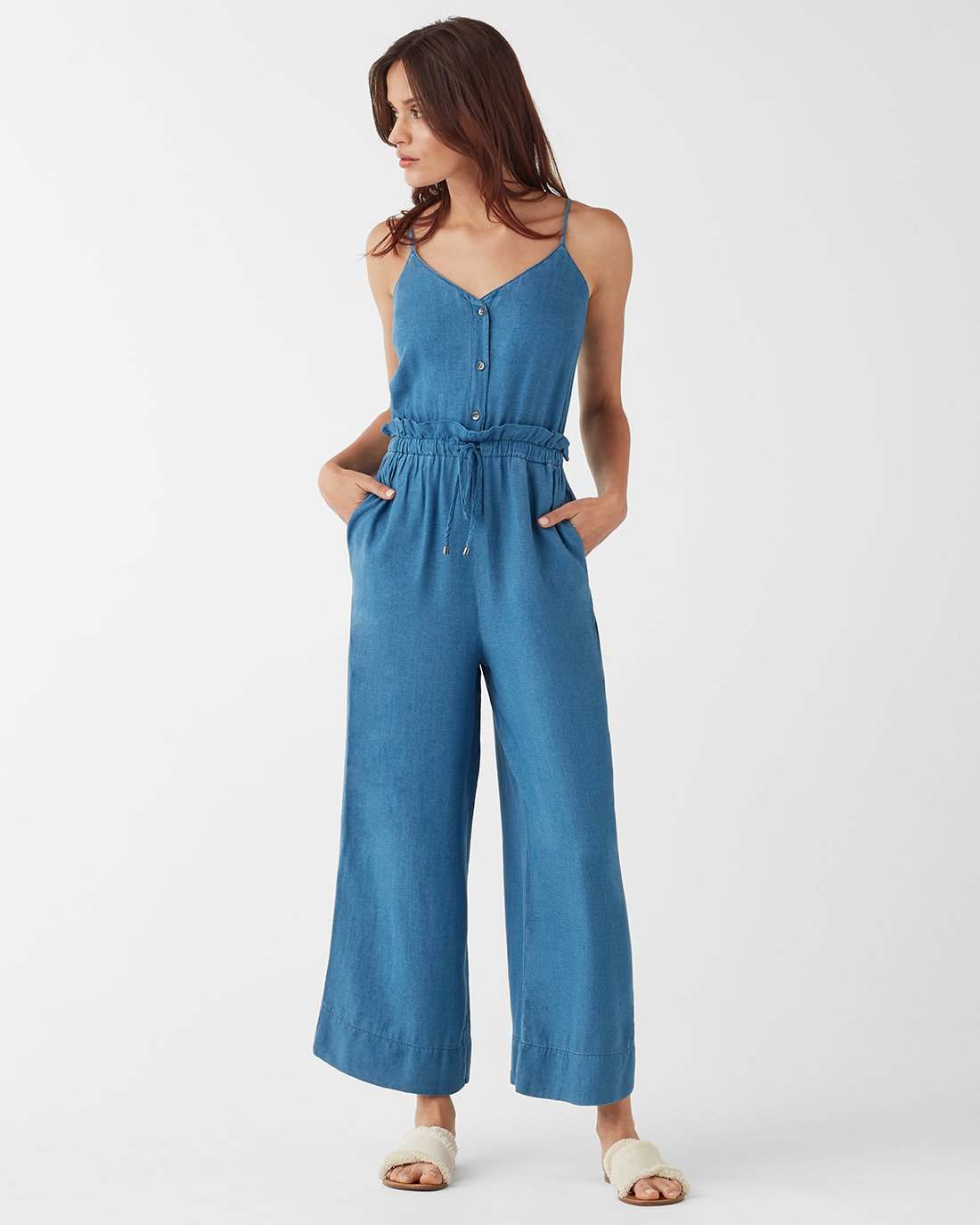 Splendid Crosshatch Indigo Tie Waist Jumpsuit