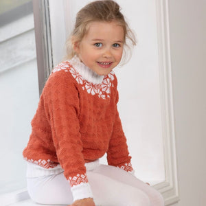 Strikk The Look: Lydia-genser barn orange Tmp