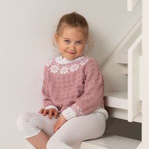 Strikk The Look: Lydia-genser barn pudderrosa Tmp