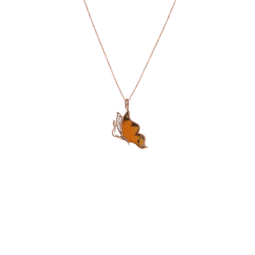 Floating Delias Aurantiaca Necklace