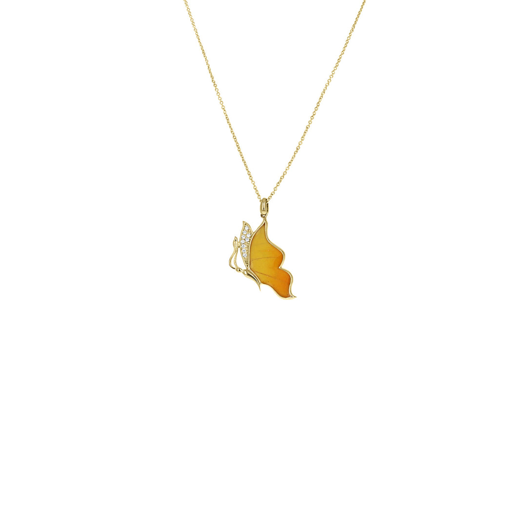 Floating Orange-Barred Sulphur Necklace