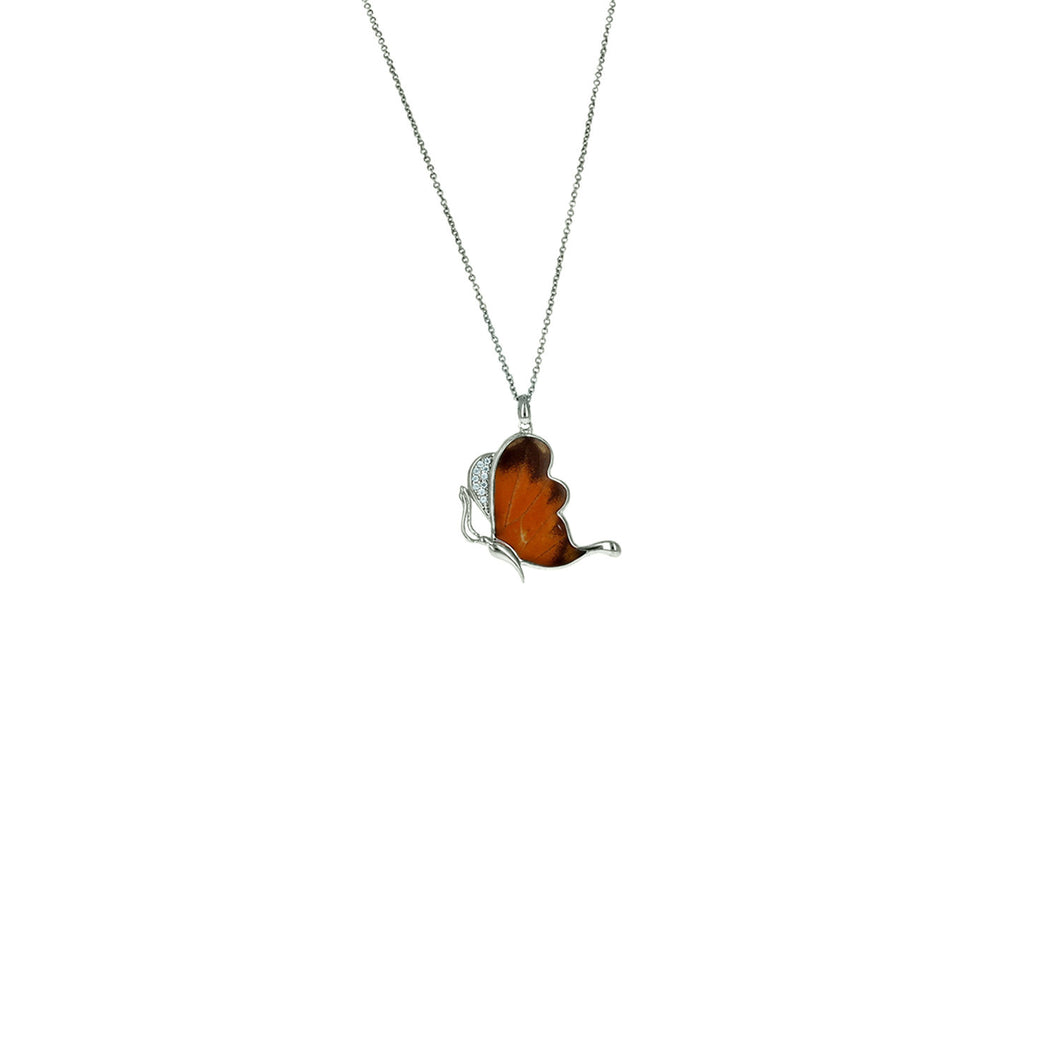 Fluttering Butterfly Pendant Necklace