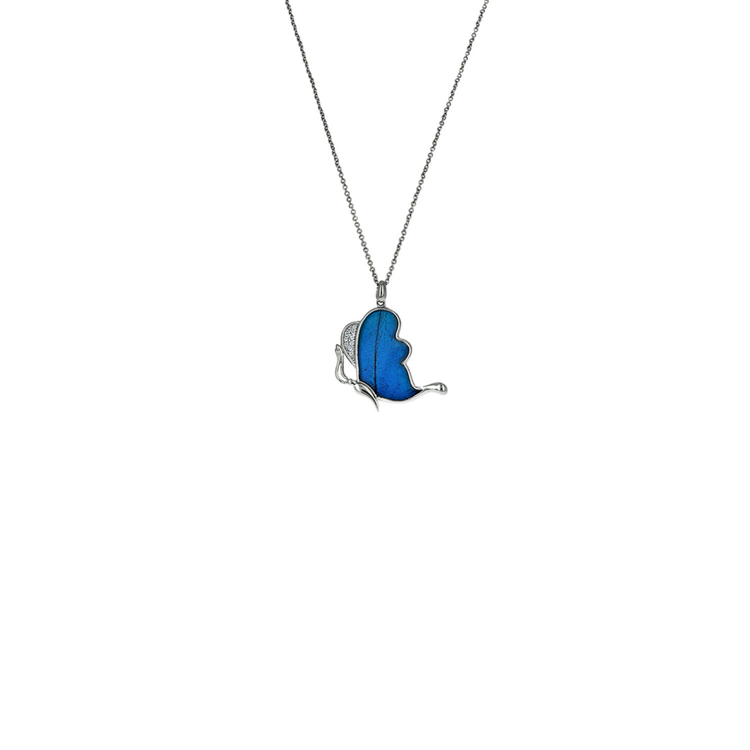Resting Blue Morpho Necklace