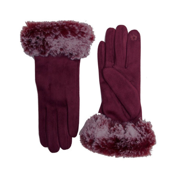 Faux Fur Touch Screen Gloves