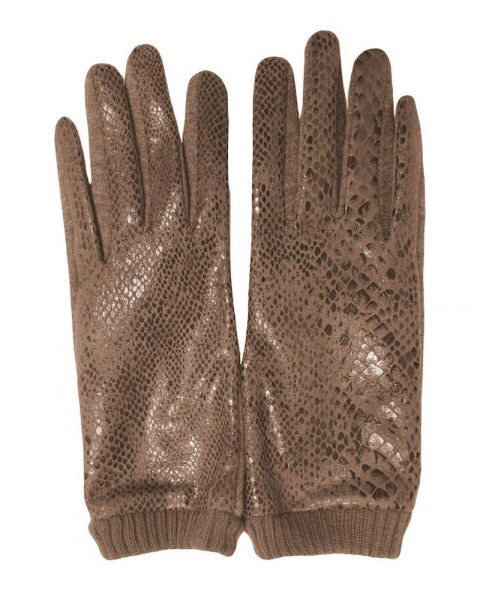 Shimmery Snakeskin Text Friendly Gloves