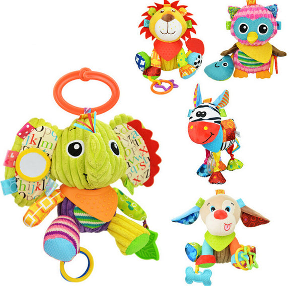Colorful Infant Animal Plush Toy with Teether