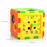 Colorful Children's Shape Recognition Cube with Storage - Learn Shapes, Time, and Counting