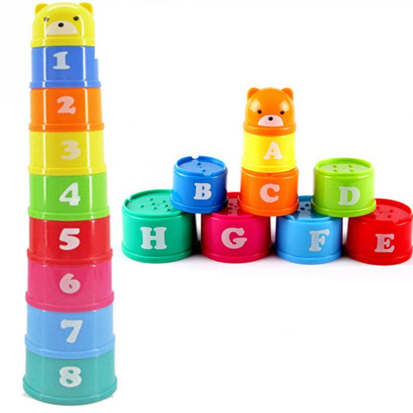 Children's Colorful Stackable Building Block Toy - Learn Colors, Numbers, and Letters (9Pcs)