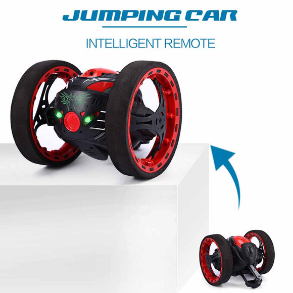 Shock Resistant Remote Control Jumping Stunt Car with LED Night Light - 2.4G RC Car Can Jump Up Stairs and Over Obstacles