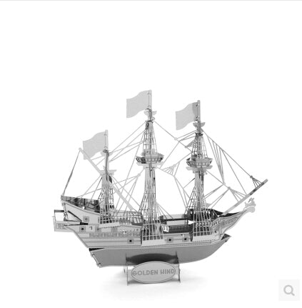 Metallic 3D Educational Jigsaw Puzzle - Build Miniature Models of Iconic Ships