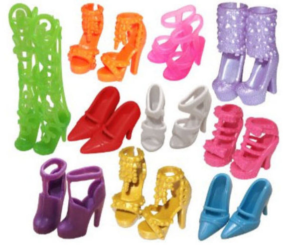 10 pairs of Barbie/Fashion Doll Shoes - Great Shoe Accessories for Fashion Dolls (20 pcs)