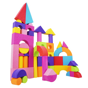 Children's Foam Building Blocks with Carrying Case - Learn Colors and Build Fun Structures (50 pcs)