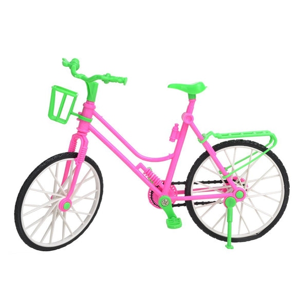 Pink & Green Fashion Doll Bicycle Accessory with Detachable Basket