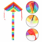 Beautiful Triangle Rainbow Kite with Long Tail - Hours of Outdoor Fun for Children