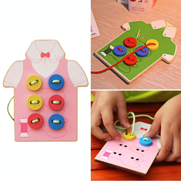 Montessori Children's Colorful Educational Toy - Teach Children Hand-Eye Coordination by Sewing Buttons onto Shirt