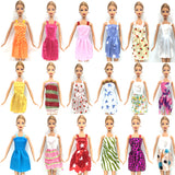 Barbie/Fashion Doll Accessories - 10 Beautiful Dresses + 6 Elegant Necklaces (16 pcs)