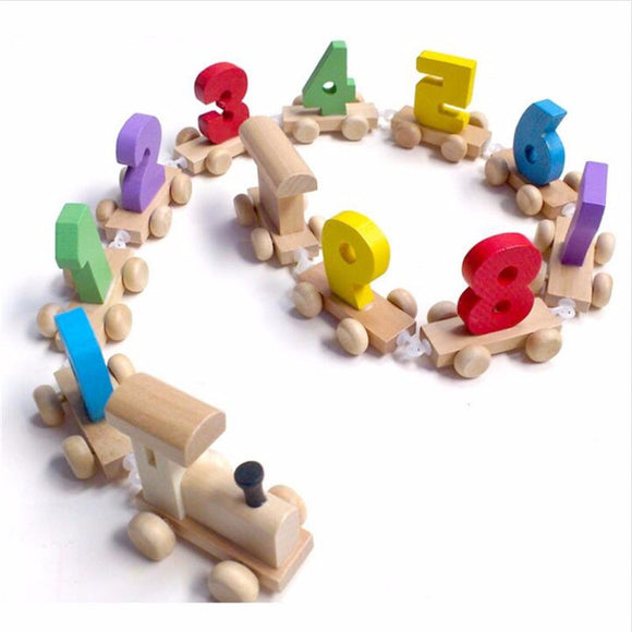 Children's Montessori Wood Train with Number Pattern 0-9 Gift - Learn Numbers and Colors