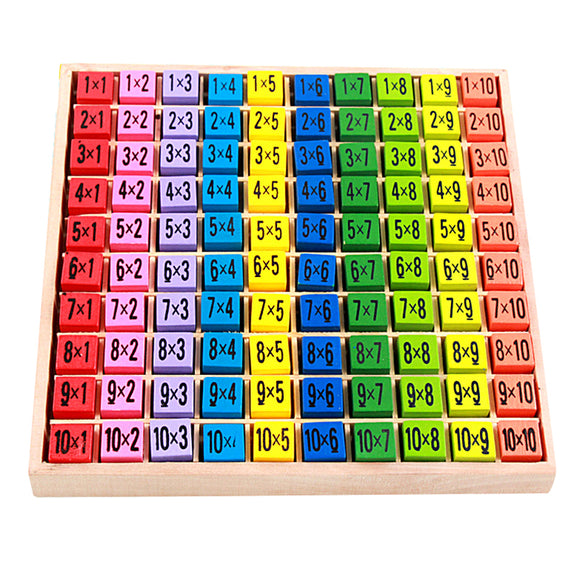 Montessori Wooden Multiplication Table - Learn Math and Colors