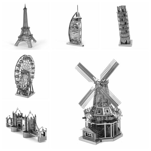 Metallic 3D Educational Jigsaw Puzzle - Build Miniature Models of Iconic Buildings and Structures