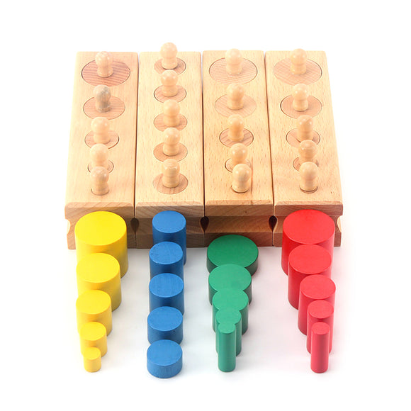 Montessori Educational Wooden Children's Toy Combination (4 Trays + Colorful Cylinder Blocks) - Learn Shape and Hand-Eye Coordination