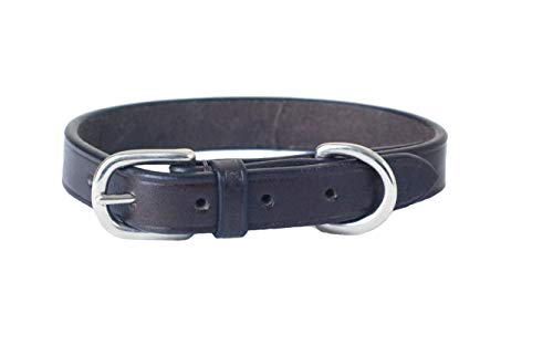 Pear Tannery Plain Flat Leather Dog Collar