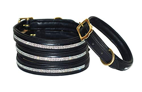 Pear Tannery Swarovski Diamond Padded Leather Dog Collar