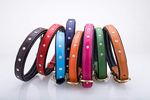 Pear Tannery Soft Padded Flat Leather Dog Collar Swarovki