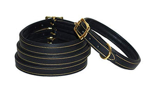 Pear Tannery Padded Flat Leather Dog Collar