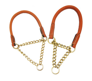 Pear Tannery Fine Rolled Leather Choke Dog Collar