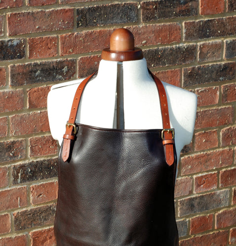 Luxury Soft Leather Apron- Chocolate Brown
