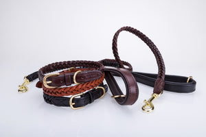 Pear Tannery Plaited Leather Dog Lead 3/4""