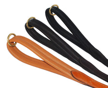 Pear Tannery Flat Leather Dog Lead With Soft Padded Handle 1/2""
