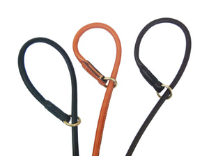 Pear Tannery Fine Rolled Leather Slip Dog Lead