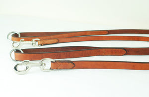 "Pear Tannery Flat Leather Dog Lead 3/4"" and Silver Fittings"