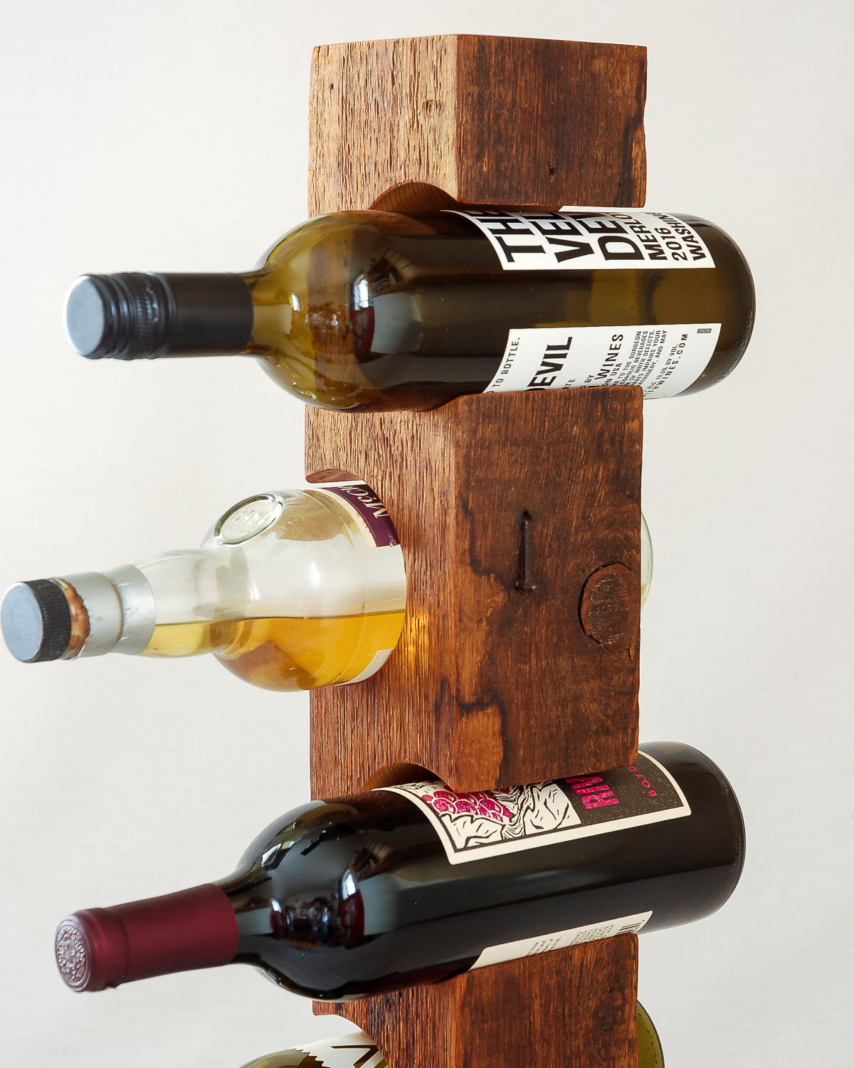 Custom Tabletop Wine Rack from Reclaimed Mid-1800s Vermont Barn Wood (#1006)