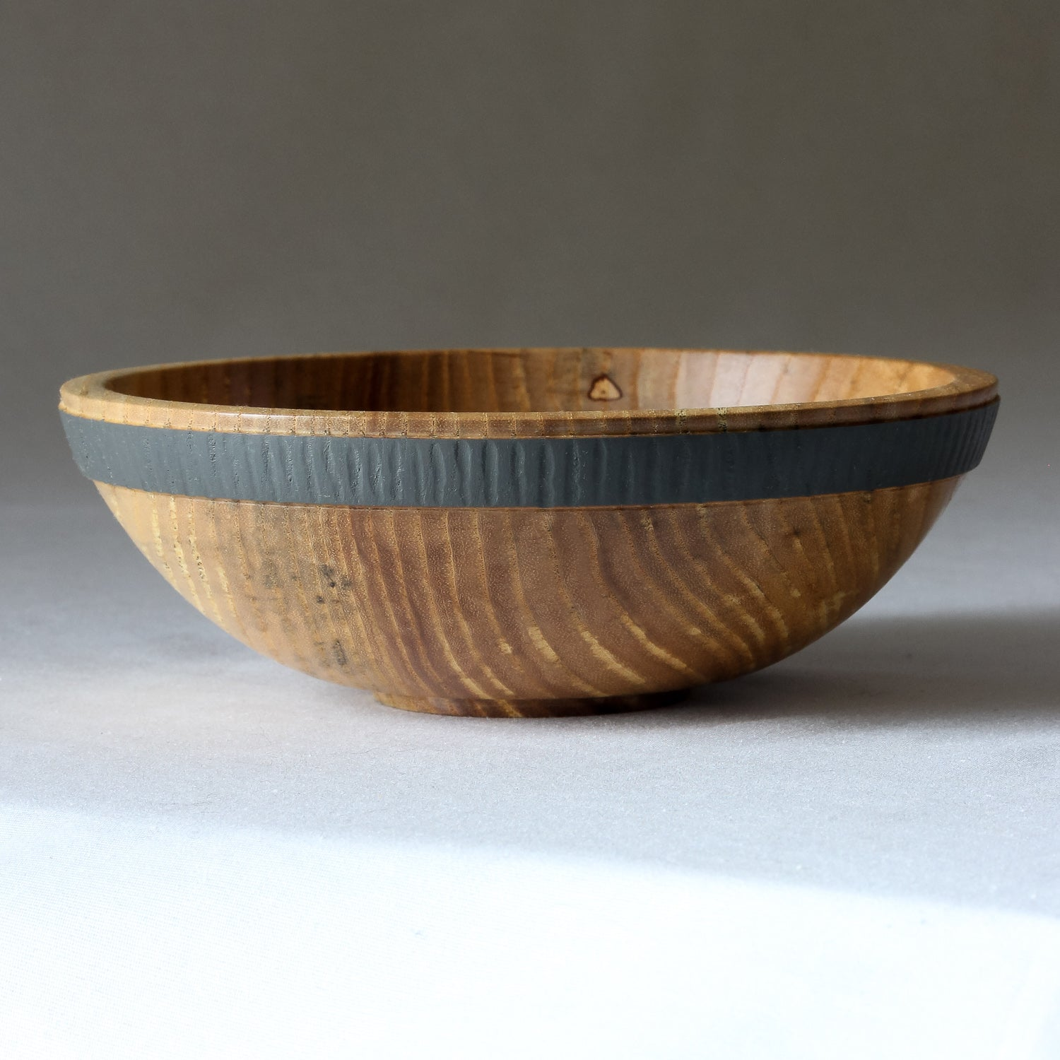 Small Olive Ash Bowl with Textured Colored Band