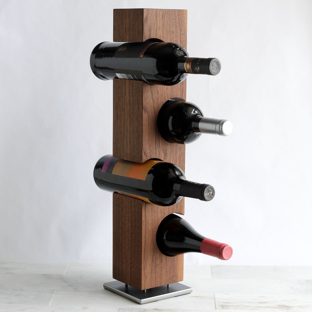 Custom Tabletop Wine Rack from Solid Black Walnut Wood