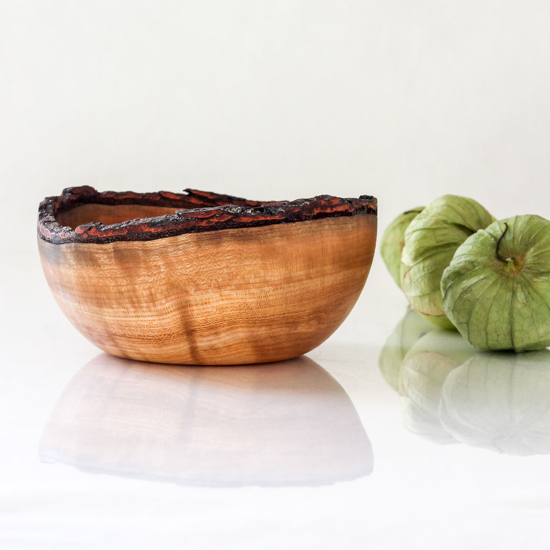 Natural Edge Cherry Bowl with Bark