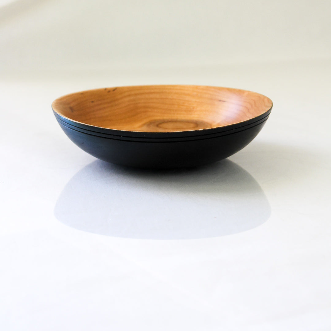 Cherry Bowl with Black Exterior and Grooved Rim