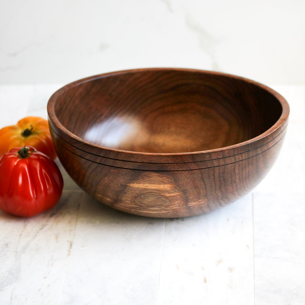 Black Walnut Dough Bowl with Grooved Rim