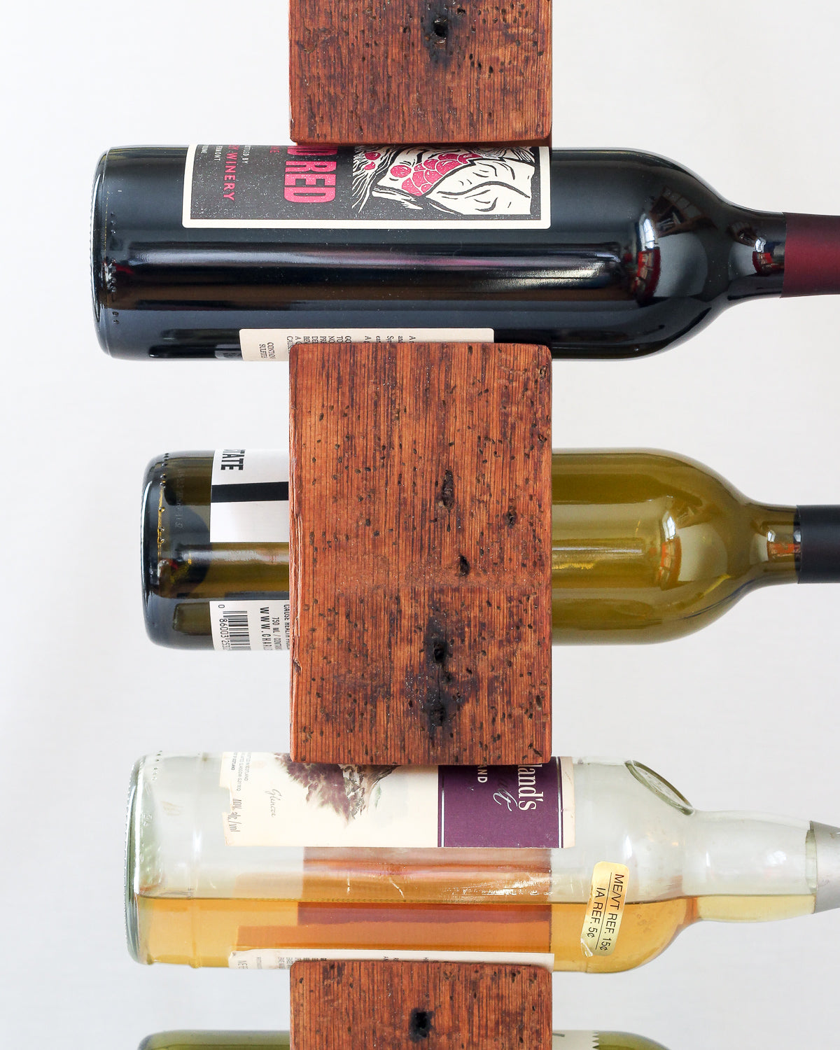 Tabletop Wine Rack from Reclaimed Mid-1800s Vermont Barn Wood (#1009)