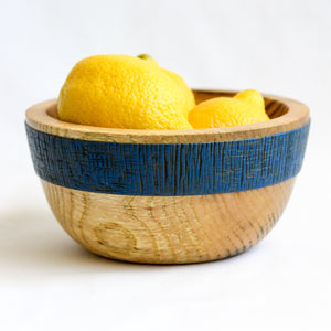 Small Olive Ash Bowl with Textured Blue Band