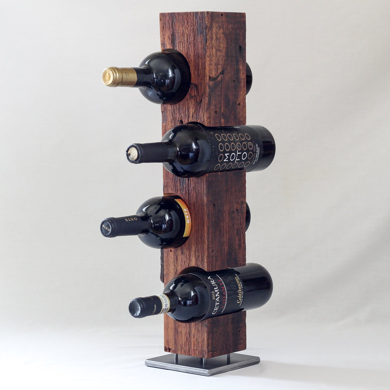 Tabletop Wine Rack from Reclaimed Mid-1800s Vermont Barn Wood (#1902)