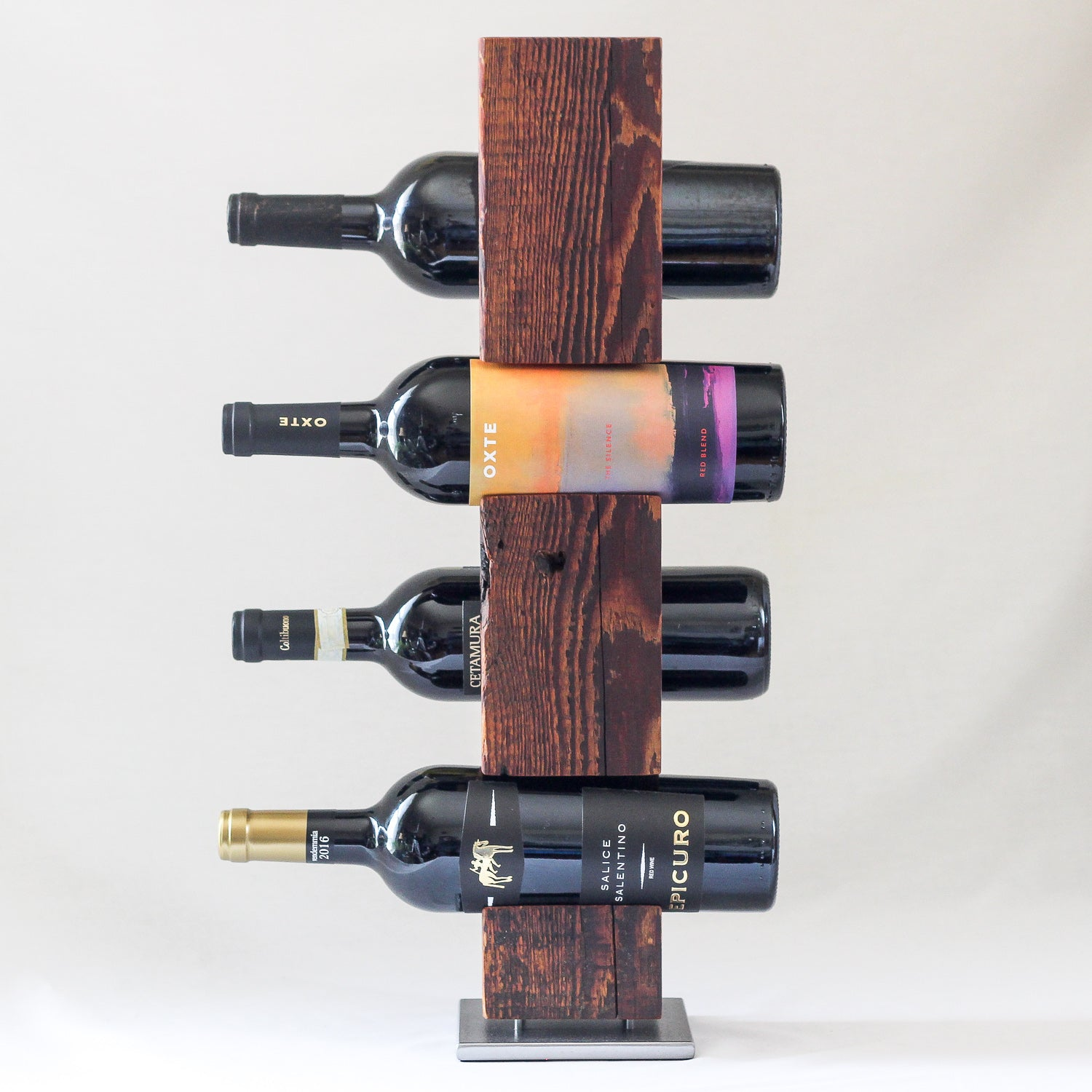 Tabletop Wine Rack from Reclaimed Mid-1800s Vermont Barn Wood (#1904)
